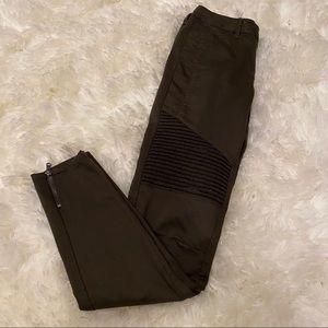Zara Z1975 Denim Olive Moto Ribbed Skinny Jean
